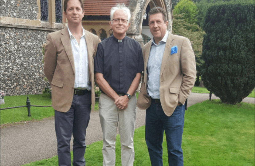 Alex Burghart MP, Rev Mark James and Richard Austin at St Paul's Church, Bentley Common
