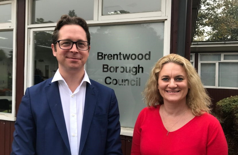 Alex Burghart MP and Brentwood Borough Council Leader, Cllr Louise McKinlay