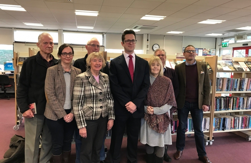 Alex Burghart MP with supporters of North Weald Library