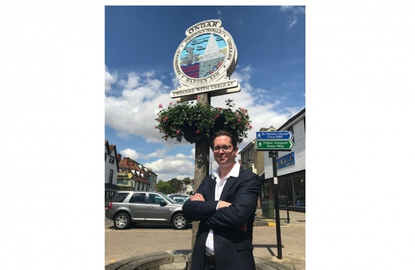 Alex Burghart MP on Ongar High Street