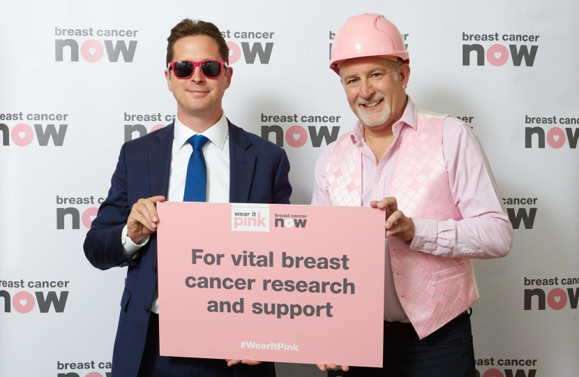 Alex Burghart MP with Johnny, a dedicated fundraiser for the charity whose sister Geraldine is living with incurable secondary breast cancer
