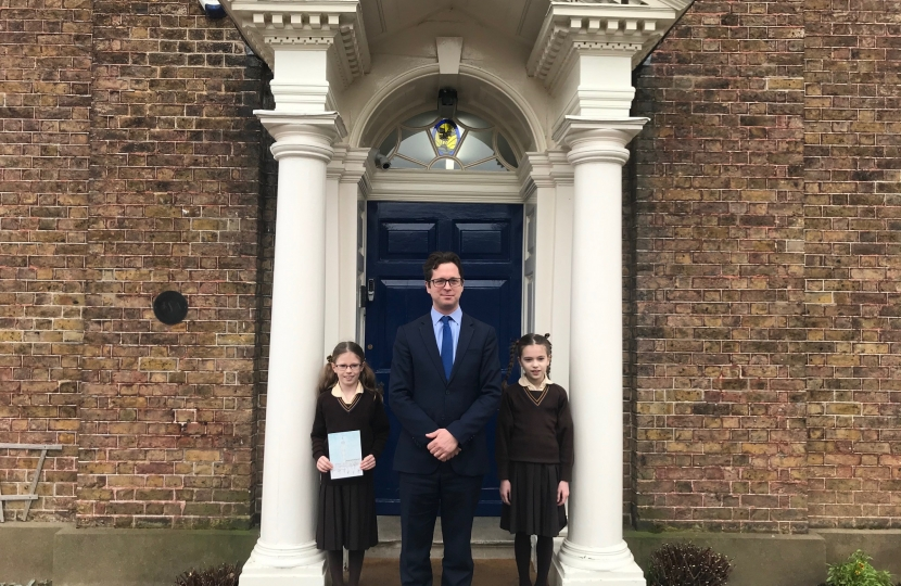 Alex Burghart with Sophie and Ella at Brentwood's Ursuline Preparatory School