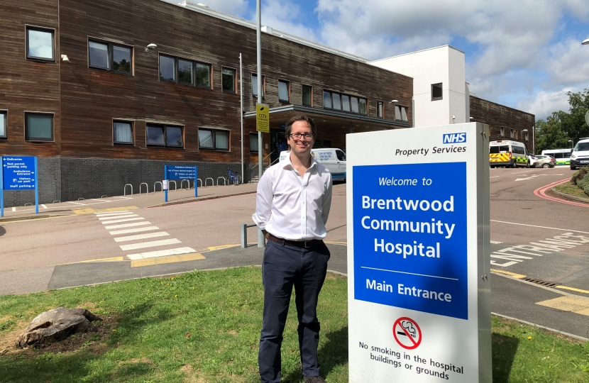 Alex Burghart outside Brentwood Community Hospital