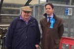 Alex Burghart MP with Jim Hoare from Brentwood Access Group during the 2017 General Election campaign
